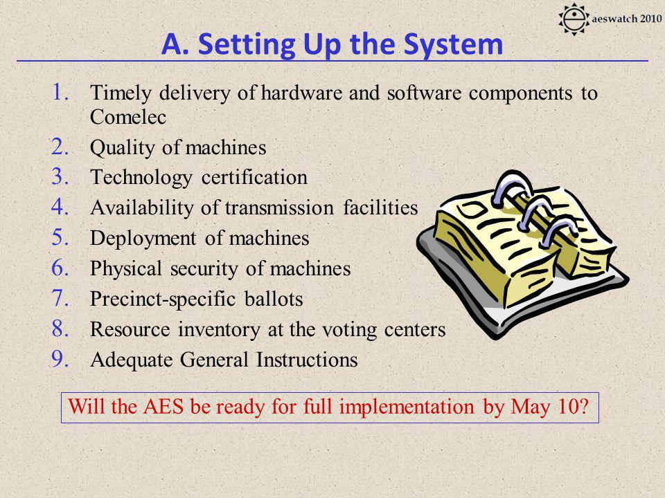 A. Setting Up the System 1. Timely delivery of hardware and software components to Comelec 2.