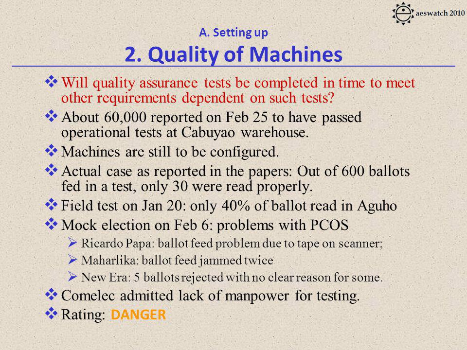 A. Setting up 2. Quality of Machines Will quality assurance tests be completed in time to meet other requirements dependent on such tests? About 60,00