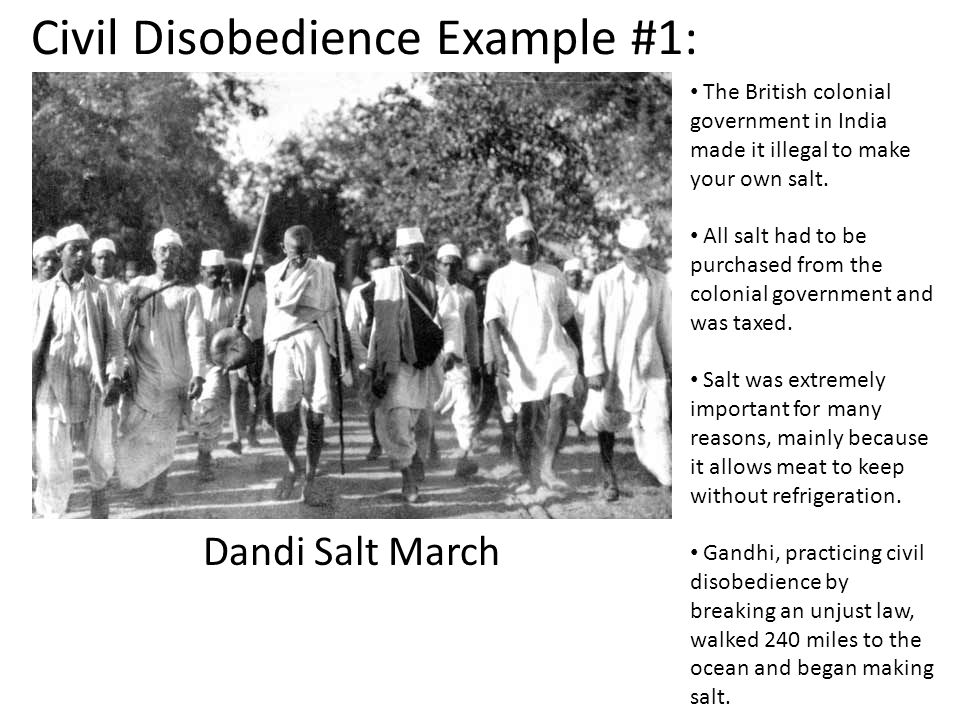 Civil Disobedience Example #1: Dandi Salt March The British colonial government in India made it illegal to make your own salt.