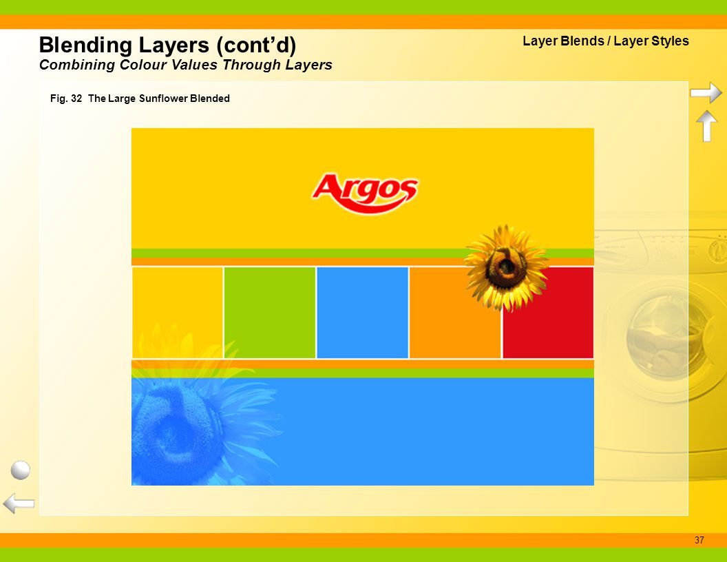 37 Fig. 32 The Large Sunflower Blended Blending Layers (contd) Combining Colour Values Through Layers Layer Blends / Layer Styles