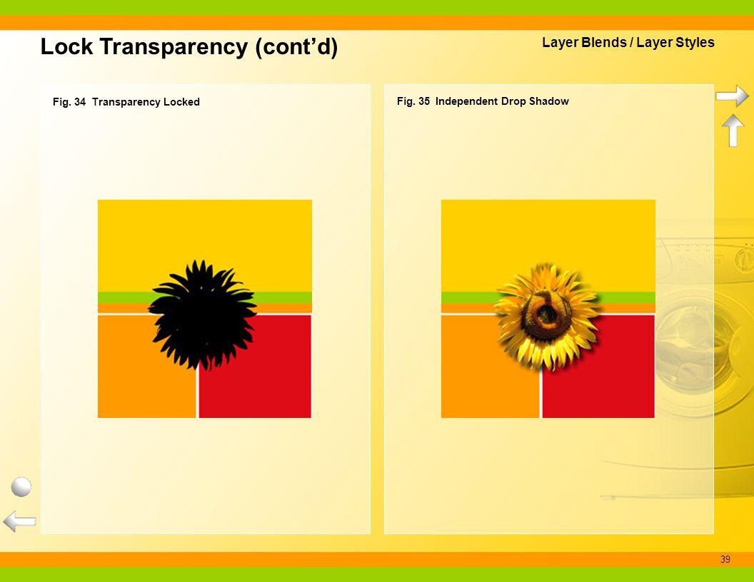 39 Lock Transparency (contd) Fig. 35 Independent Drop Shadow Fig. 34 Transparency Locked Layer Blends / Layer Styles