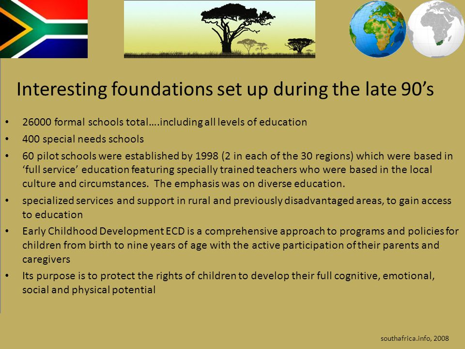 26000 formal schools total….including all levels of education 400 special needs schools 60 pilot schools were established by 1998 (2 in each of the 30