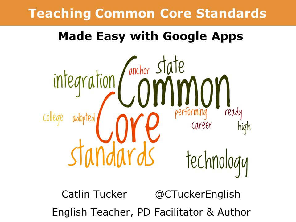 Writing with Google Docs: Foster Collaboration & Creation Catlin Tucker @CTuckerEnglish English Teacher, PD Facilitator & Author Teaching Common Core Standards Made Easy with Google Apps