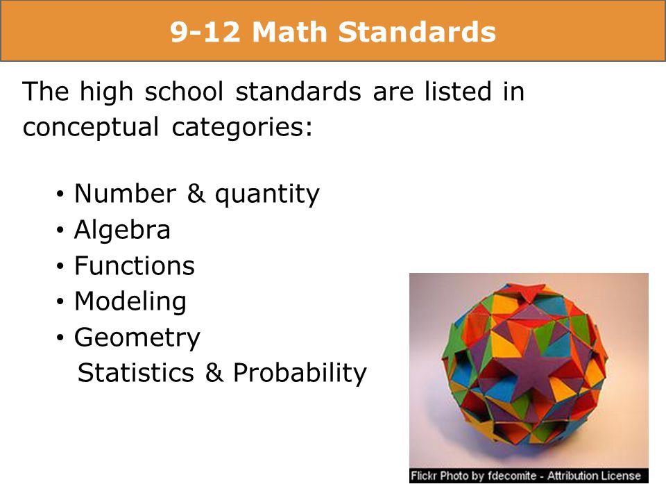 9-12 Math Standards The high school standards are listed in conceptual categories: Number & quantity Algebra Functions Modeling Geometry Statistics & Probability