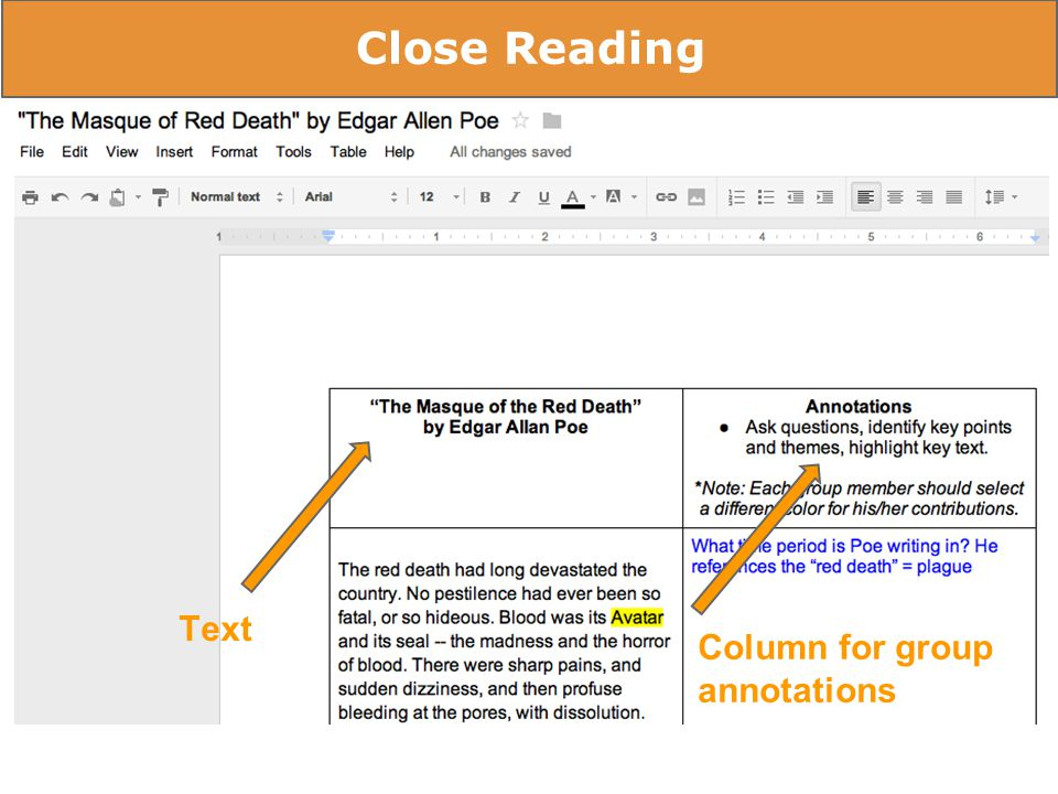Rubrics - Self & Peer Assessment Close Reading Text Column for group annotations