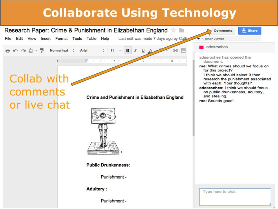 Collab with comments or live chat Collaborate Using Technology