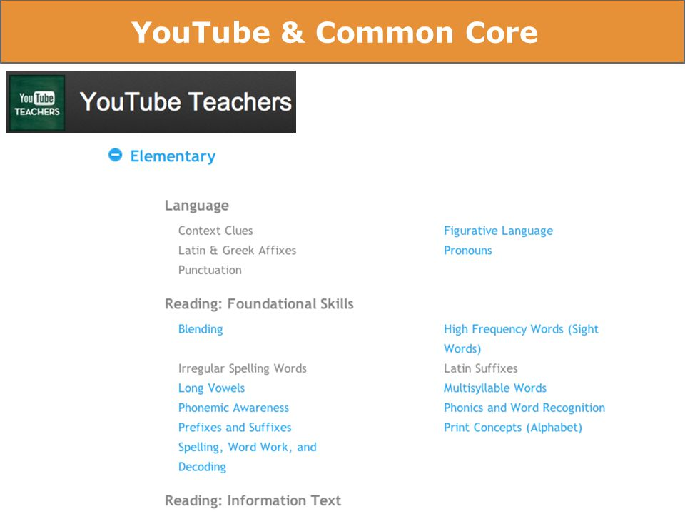 YouTube & Common Core