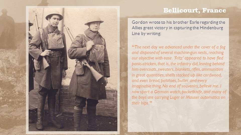 Bellicourt, France The 30 th Division was reassigned to the Bellicourt region of France in late September 1918 in the Allies assault on the Germans heavily defended Hindenburg Line.