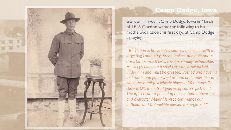 Bellicourt, France Gordon wrote to his brother Earle regarding the Allies great victory in capturing the Hindenburg Line by writing: The next day we advanced under the cover of a fog and disposed of several machine-gun nests, reaching our objective with ease.