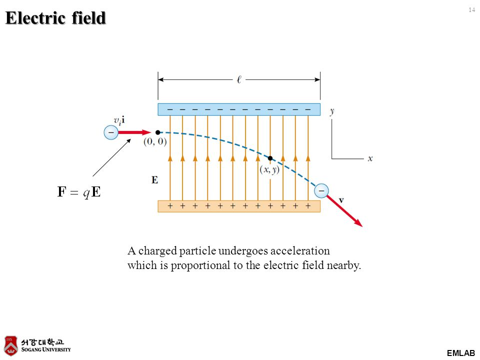 EMLAB 14 Electric field A charged particle undergoes acceleration which is proportional to the electric field nearby.
