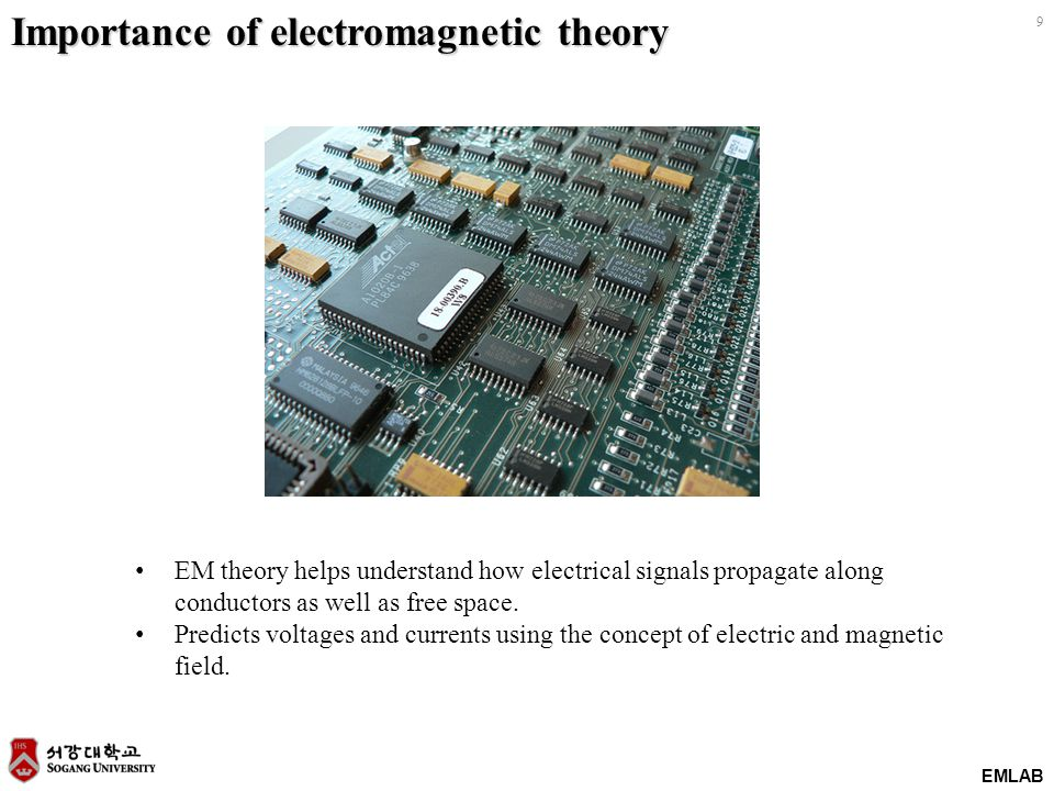 EMLAB 9 EM theory helps understand how electrical signals propagate along conductors as well as free space. Predicts voltages and currents using the c