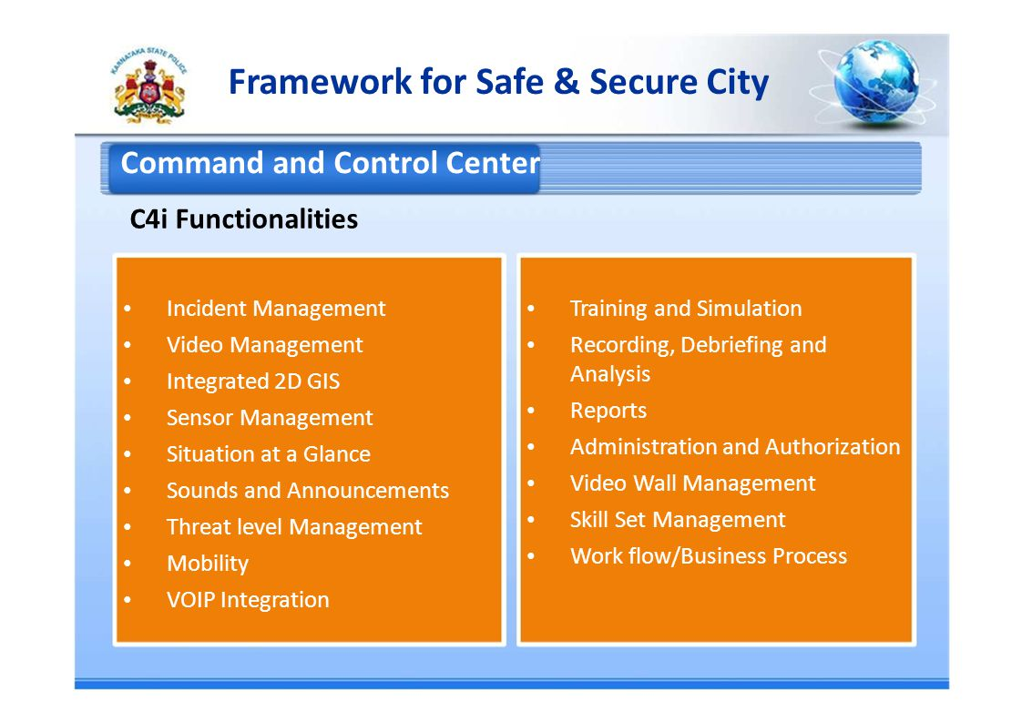 Command and Control Center C4i Functionalities Incident Management Training and Simulation Video Management Recording, Debriefing and Analysis Integrated 2D GIS Reports Sensor Management Administration and Authorization Situation at a Glance Video Wall Management Sounds and Announcements Skill Set Management Threat level Management Work flow/Business Process Mobility VOIP Integration