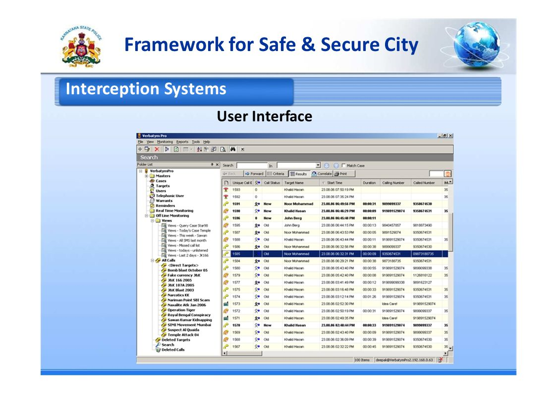 Framework for Safe & Secure City Interception Systems User Interface