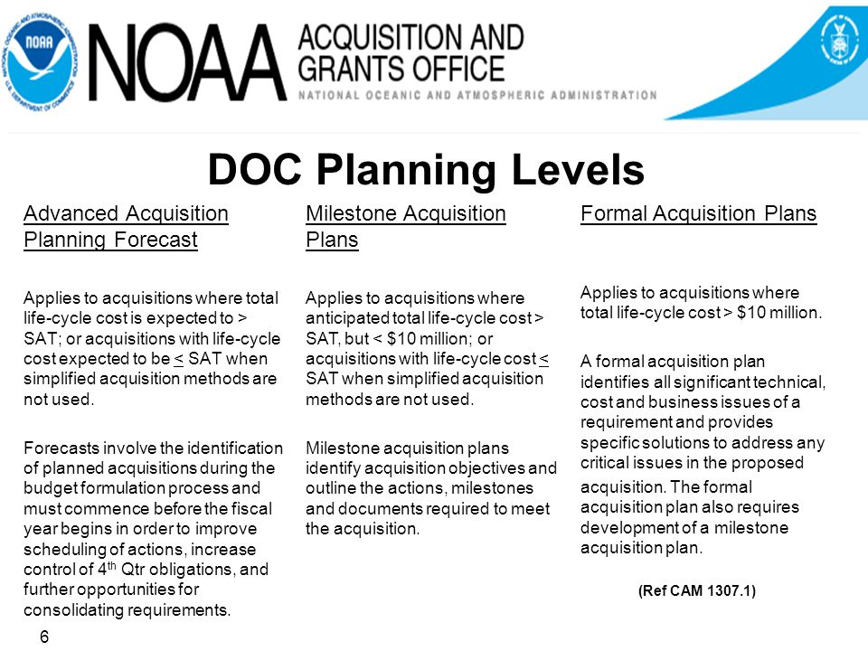 DOC Planning Levels Advanced Acquisition Planning Forecast Applies to acquisitions where total life-cycle cost is expected to > SAT; or acquisitions with life-cycle cost expected to be < SAT when simplified acquisition methods are not used.