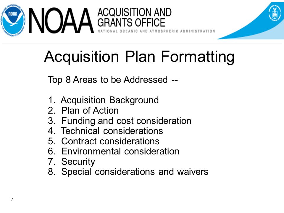 Acquisition Plan Formatting Top 8 Areas to be Addressed -- 1.