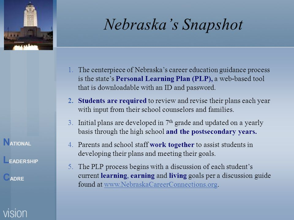 N ATIONAL L EADERSHIP C ADRE Nebraskas Snapshot 1.The centerpiece of Nebraskas career education guidance process is the states Personal Learning Plan (PLP), a web-based tool that is downloadable with an ID and password.