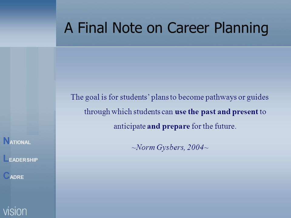 N ATIONAL L EADERSHIP C ADRE A Final Note on Career Planning The goal is for students plans to become pathways or guides through which students can use the past and present to anticipate and prepare for the future.