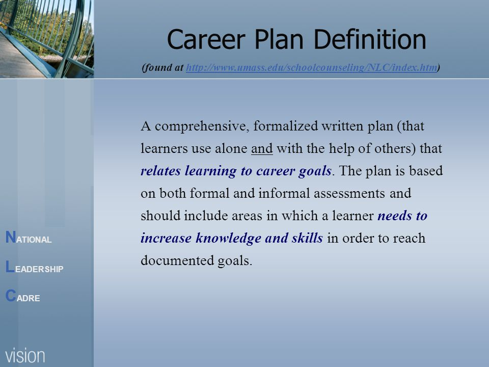 N ATIONAL L EADERSHIP C ADRE Career Plan Definition A comprehensive, formalized written plan (that learners use alone and with the help of others) that relates learning to career goals.
