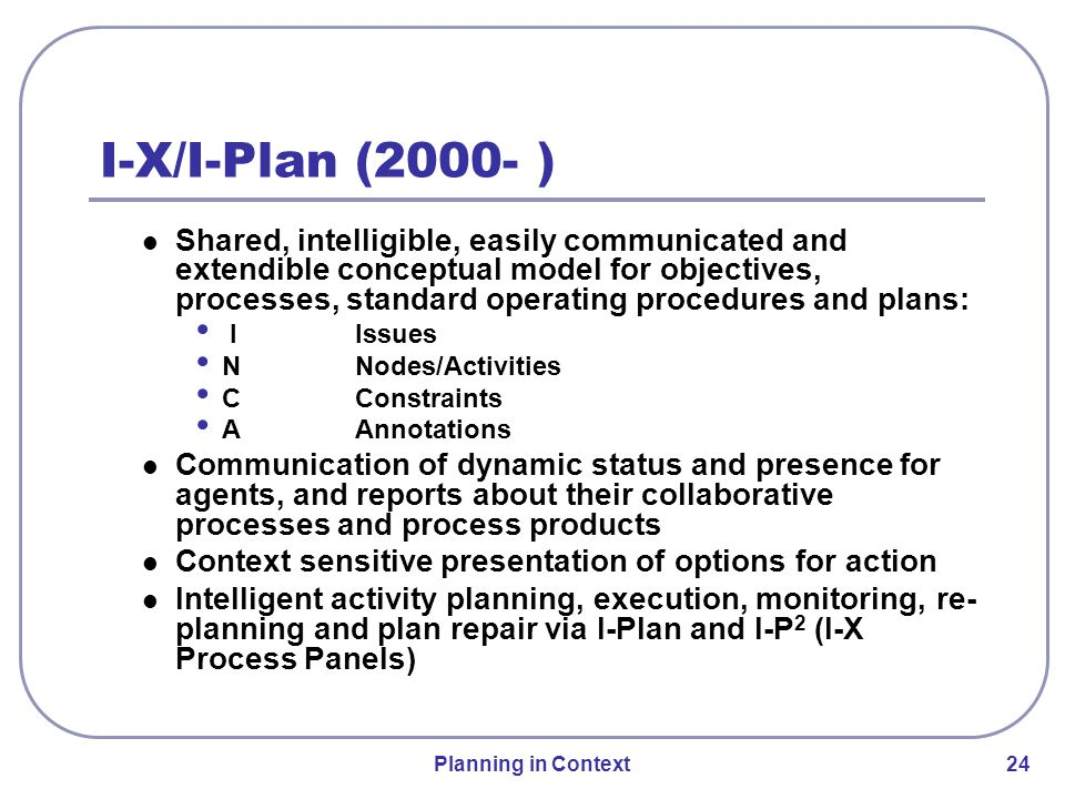 Planning in Context 24 Shared, intelligible, easily communicated and extendible conceptual model for objectives, processes, standard operating procedures and plans: IIssues NNodes/Activities CConstraints AAnnotations Communication of dynamic status and presence for agents, and reports about their collaborative processes and process products Context sensitive presentation of options for action Intelligent activity planning, execution, monitoring, re- planning and plan repair via I-Plan and I-P 2 (I-X Process Panels) I-X/I-Plan (2000- )