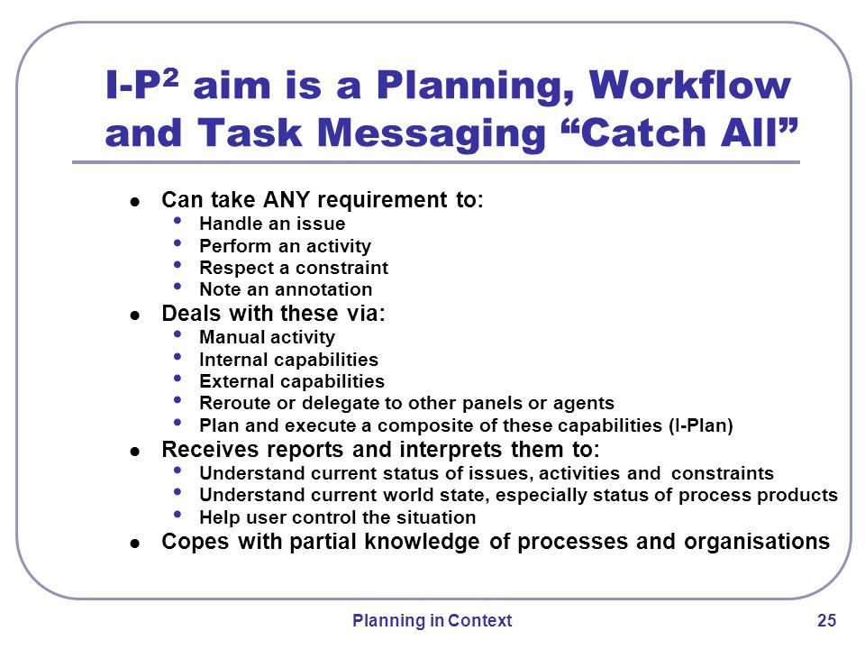 Planning in Context 25 I-P 2 aim is a Planning, Workflow and Task Messaging Catch All Can take ANY requirement to: Handle an issue Perform an activity Respect a constraint Note an annotation Deals with these via: Manual activity Internal capabilities External capabilities Reroute or delegate to other panels or agents Plan and execute a composite of these capabilities (I-Plan) Receives reports and interprets them to: Understand current status of issues, activities and constraints Understand current world state, especially status of process products Help user control the situation Copes with partial knowledge of processes and organisations