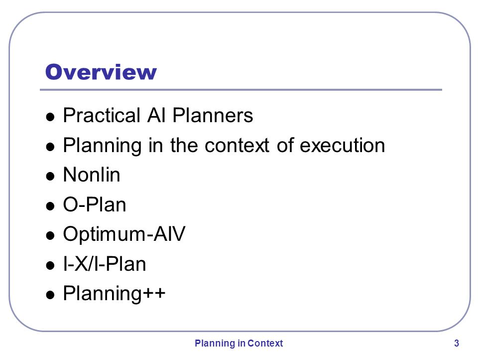 Planning in Context 14 O-Plan Agent Architecture Later became Issues Nodes Constraints Annotations Later became Plan Modification Operators