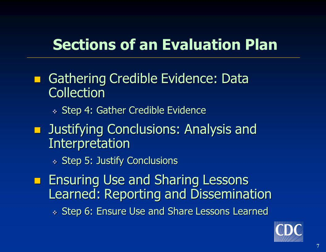 7 Sections of an Evaluation Plan Gathering Credible Evidence: Data Collection Gathering Credible Evidence: Data Collection Step 4: Gather Credible Evi