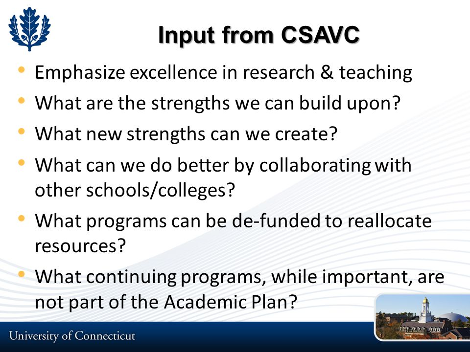 Input from CSAVC Emphasize excellence in research & teaching What are the strengths we can build upon.