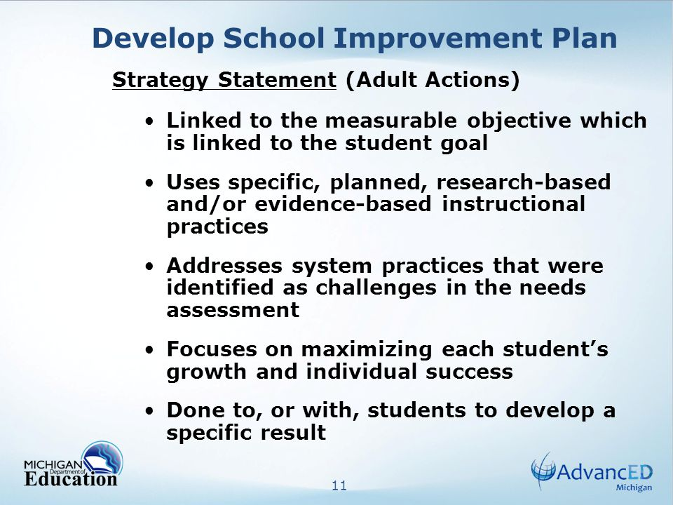 11 Develop School Improvement Plan Strategy Statement (Adult Actions) Linked to the measurable objective which is linked to the student goal Uses specific, planned, research-based and/or evidence-based instructional practices Addresses system practices that were identified as challenges in the needs assessment Focuses on maximizing each students growth and individual success Done to, or with, students to develop a specific result
