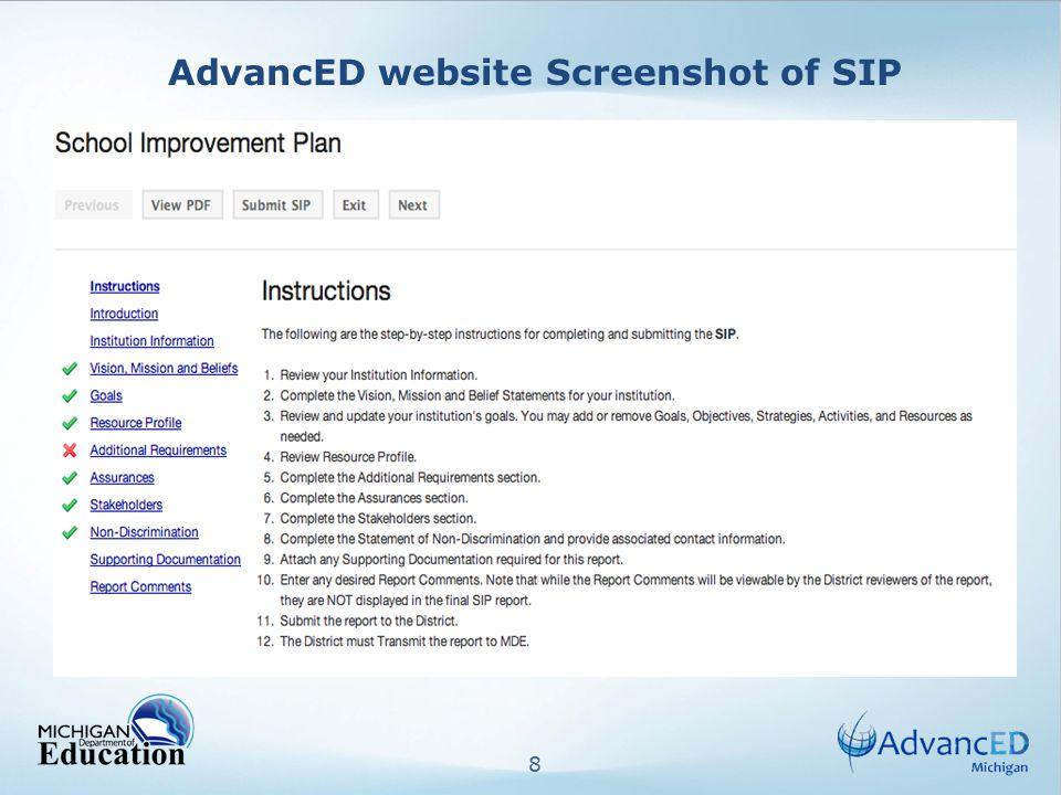 8 AdvancED website Screenshot of SIP