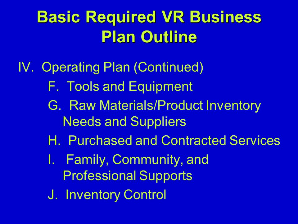 Basic Required VR Business Plan Outline IV. Operating Plan (Continued) F.