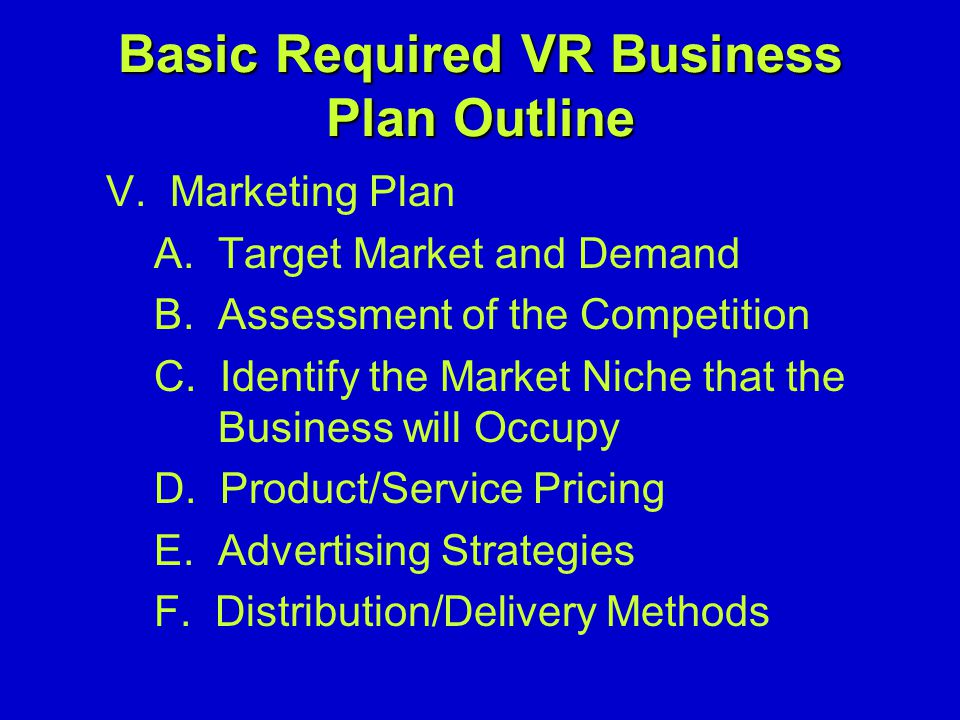 Basic Required VR Business Plan Outline V. Marketing Plan A.