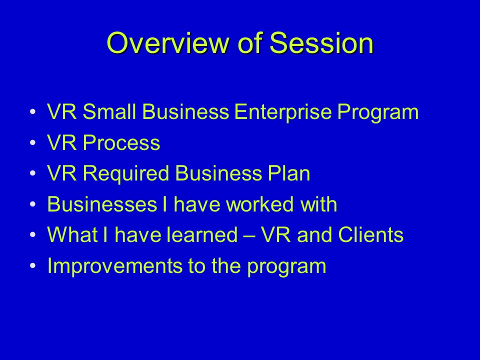 Overview of Session VR Small Business Enterprise Program VR Process VR Required Business Plan Businesses I have worked with What I have learned – VR and Clients Improvements to the program