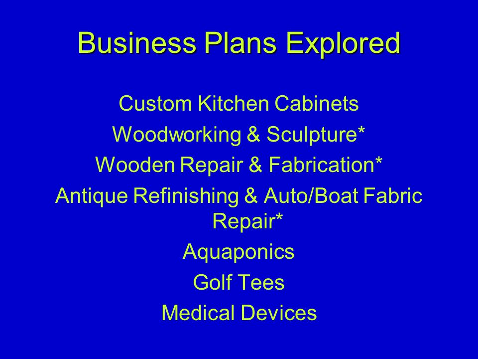Business Plans Explored Custom Kitchen Cabinets Woodworking & Sculpture* Wooden Repair & Fabrication* Antique Refinishing & Auto/Boat Fabric Repair* Aquaponics Golf Tees Medical Devices