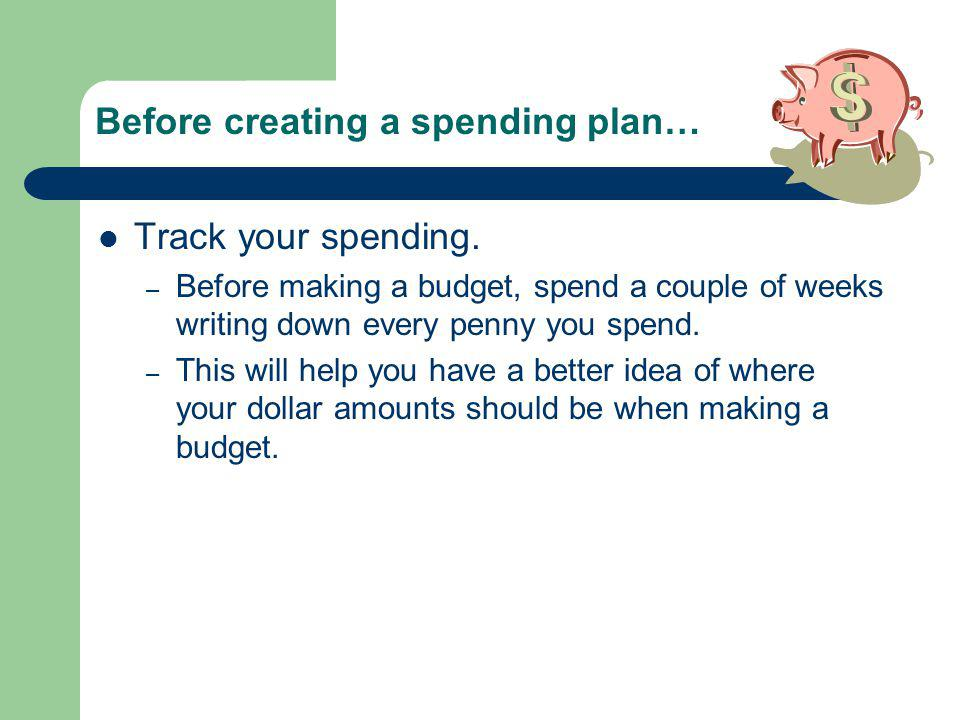 Before creating a spending plan… Track your spending.