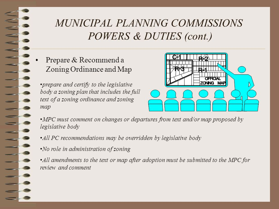 MUNICIPAL PLANNING COMMISSIONS POWERS & DUTIES (cont.) Prepare & Recommend a Zoning Ordinance and Map prepare and certify to the legislative body a zo