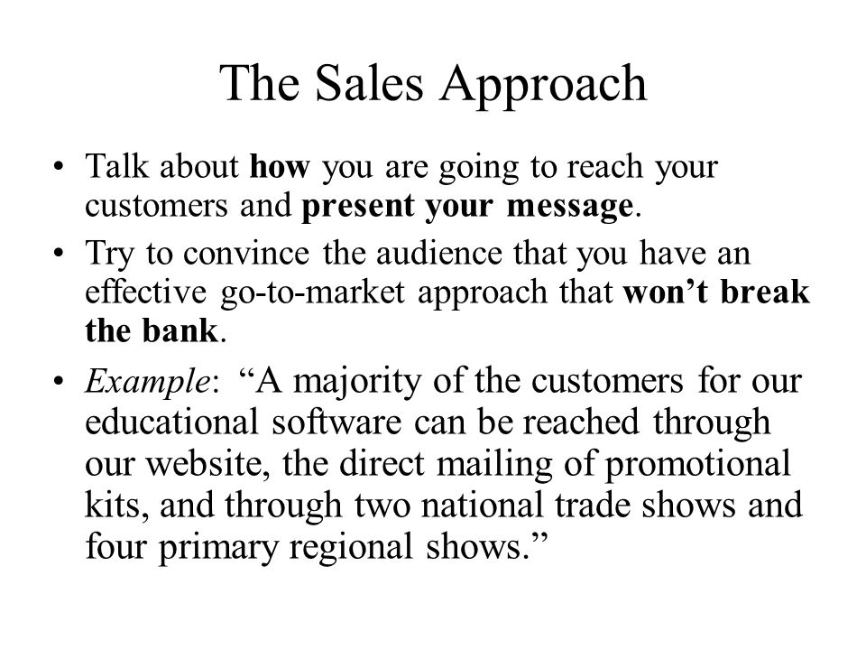 The Sales Approach Talk about how you are going to reach your customers and present your message.