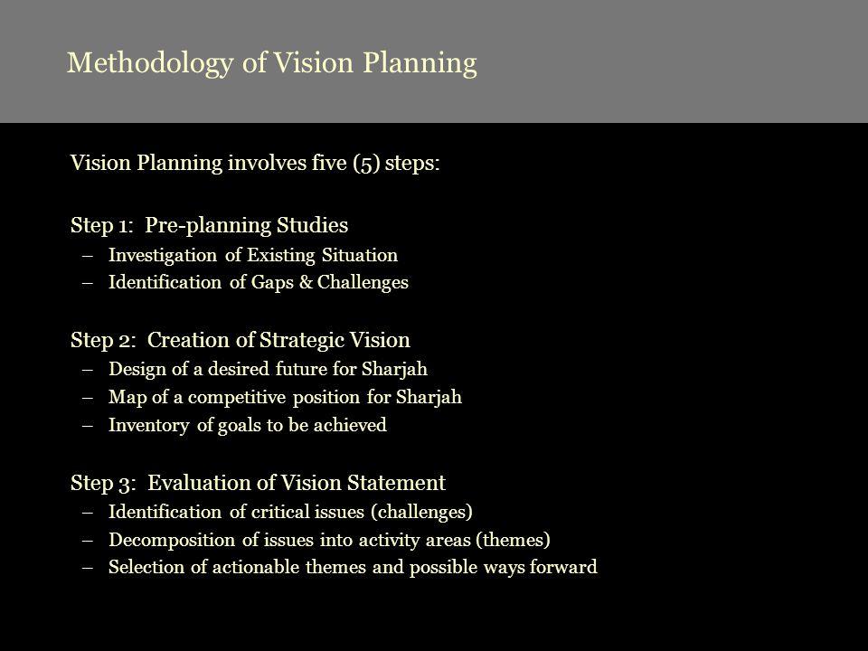 Methodology of Vision Planning Vision Planning involves five (5) steps: Step 1: Pre-planning Studies –Investigation of Existing Situation –Identificat