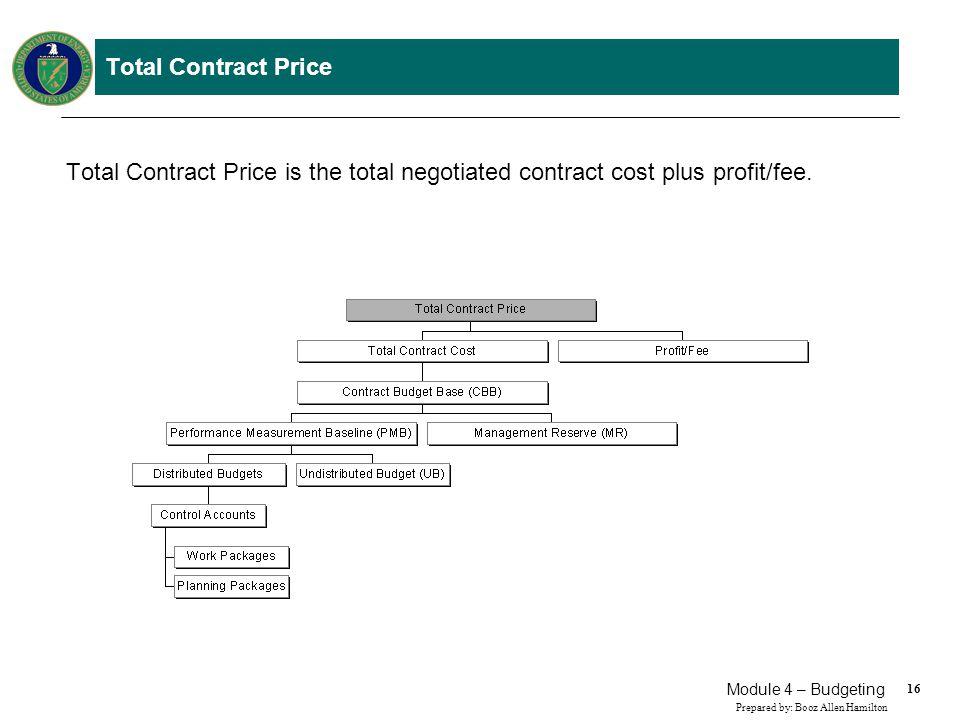 16 Prepared by: Booz Allen Hamilton Module 4 – Budgeting Total Contract Price Total Contract Price is the total negotiated contract cost plus profit/f