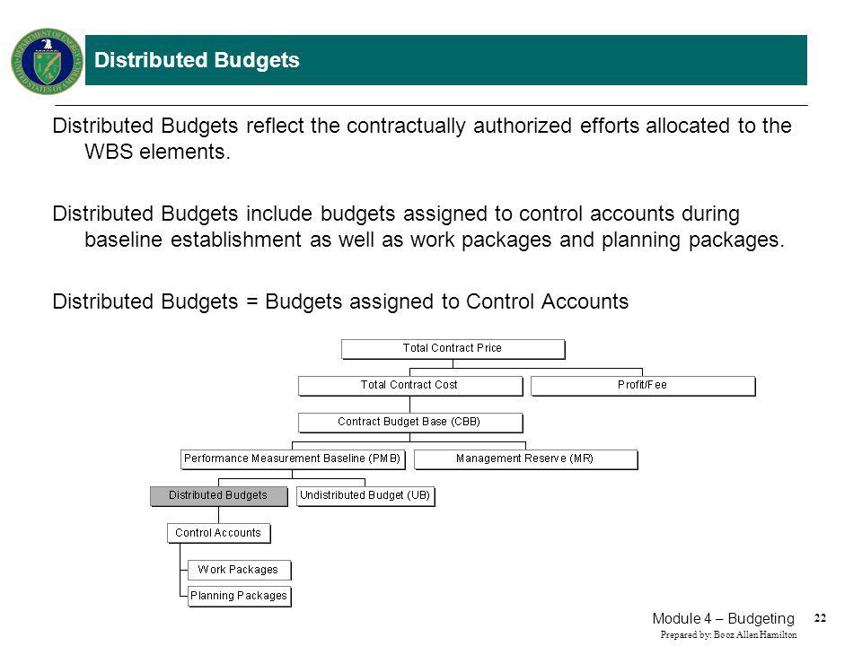 22 Prepared by: Booz Allen Hamilton Module 4 – Budgeting Distributed Budgets Distributed Budgets reflect the contractually authorized efforts allocate