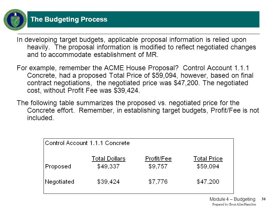 36 Prepared by: Booz Allen Hamilton Module 4 – Budgeting The Budgeting Process In developing target budgets, applicable proposal information is relied