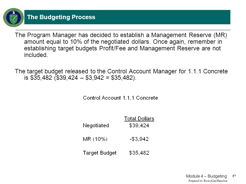 37 Prepared by: Booz Allen Hamilton Module 4 – Budgeting The Budgeting Process The Program Manager has decided to establish a Management Reserve (MR)