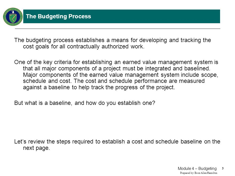 34 Prepared by: Booz Allen Hamilton Module 4 – Budgeting The Budgeting Process After the Contract Budget Base has been established, the Management Reserve is established by the Program Manager.