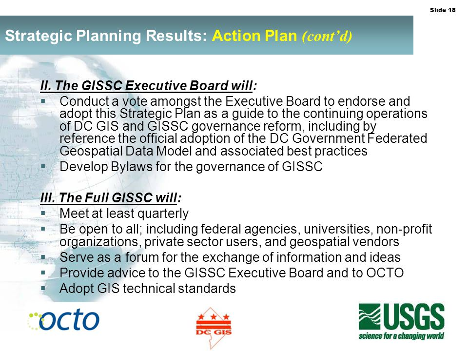 Slide 18 Strategic Planning Results: Action Plan (contd) II.
