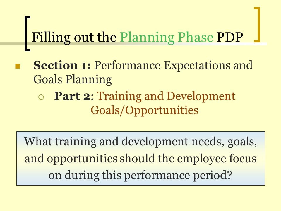 Filling out the Planning Phase PDP Section 1: Performance Expectations and Goals Planning Part 2: Training and Development Goals/Opportunities What tr