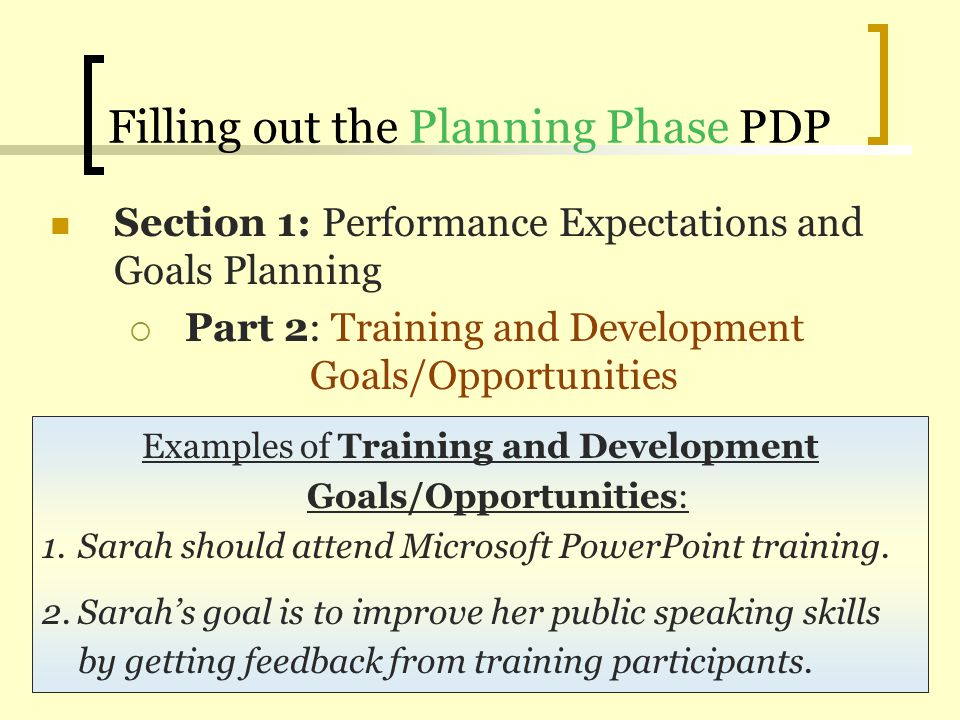 Filling out the Planning Phase PDP Section 1: Performance Expectations and Goals Planning Part 2: Training and Development Goals/Opportunities Example