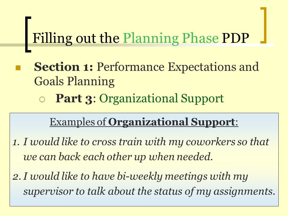 Filling out the Planning Phase PDP Section 1: Performance Expectations and Goals Planning Part 3: Organizational Support Examples of Organizational Su