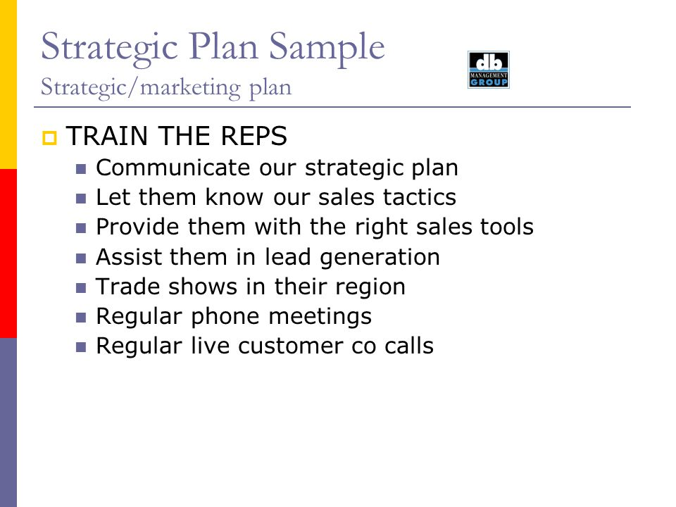 Strategic Plan Sample Strategic/marketing plan TRAIN THE REPS Communicate our strategic plan Let them know our sales tactics Provide them with the rig