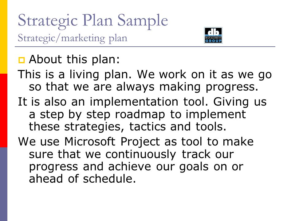Strategic Plan Sample Strategic/marketing plan About this plan: This is a living plan. We work on it as we go so that we are always making progress. I