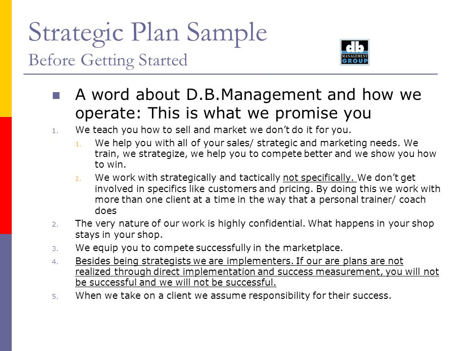 Strategic Plan Sample Before Getting Started A word about D.B.Management and how we operate: This is what we promise you 1. We teach you how to sell a