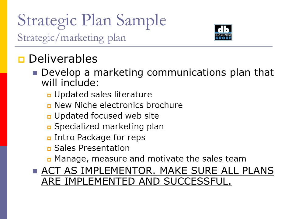 Strategic Plan Sample Strategic/marketing plan ADVERTISING/ direct mailing list are available for advertisers in PCBD&M at $800 per five thousand mailing labels.